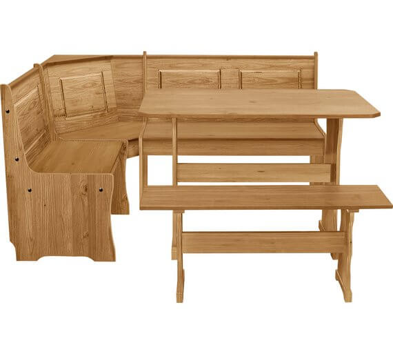 HOME Puerto Rico Solid Wood Nook Table & 3 Corner Bench Set