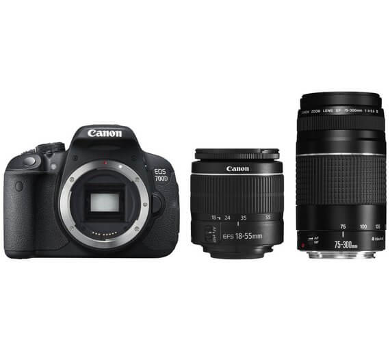 Canon EOS 700D DSLR Camera and 18-55mm & 75-300mm III Lenses