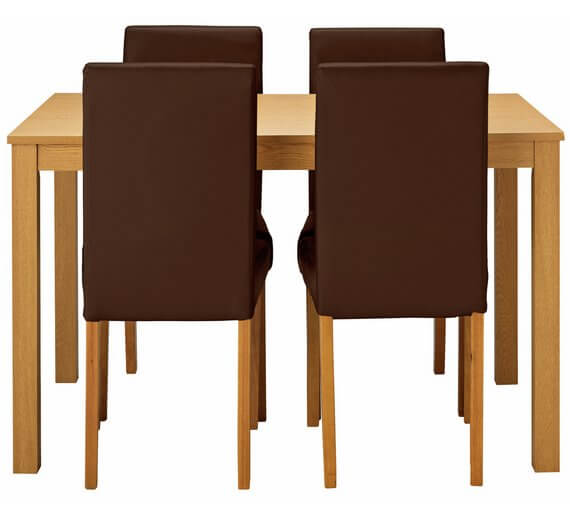 HOME Elmdon Oak Effect Dining Table & 4 Chairs – Chocolate