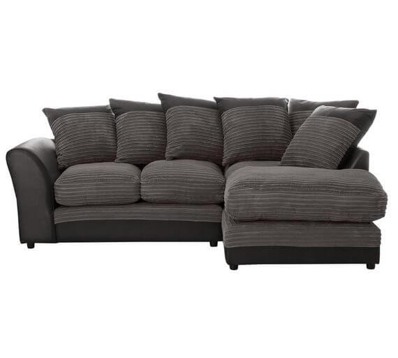 HOME Harley Regular Fabric Right Hand Corner Sofa – Charcoal