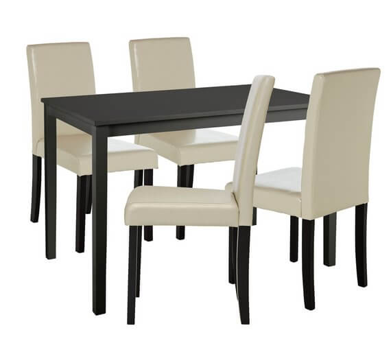 HOME Alcott Dining Table & 4 Chairs – Cream