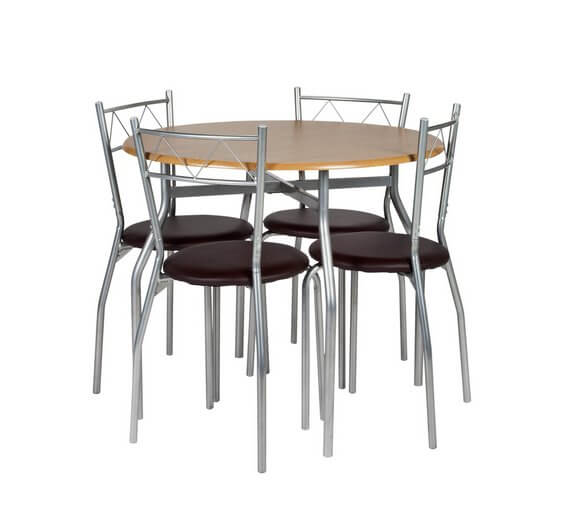 Oslo Round Wood Effect Dining Table & 4 Chairs