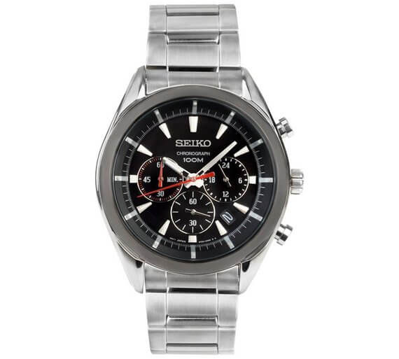Seiko Men's Black IP Chronograph Bracelet Watch