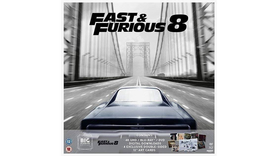 Fast And Furious 8 Big Sleeve Edition 4K Ultra HD + Blu Ray+ DVD + Art Cards
