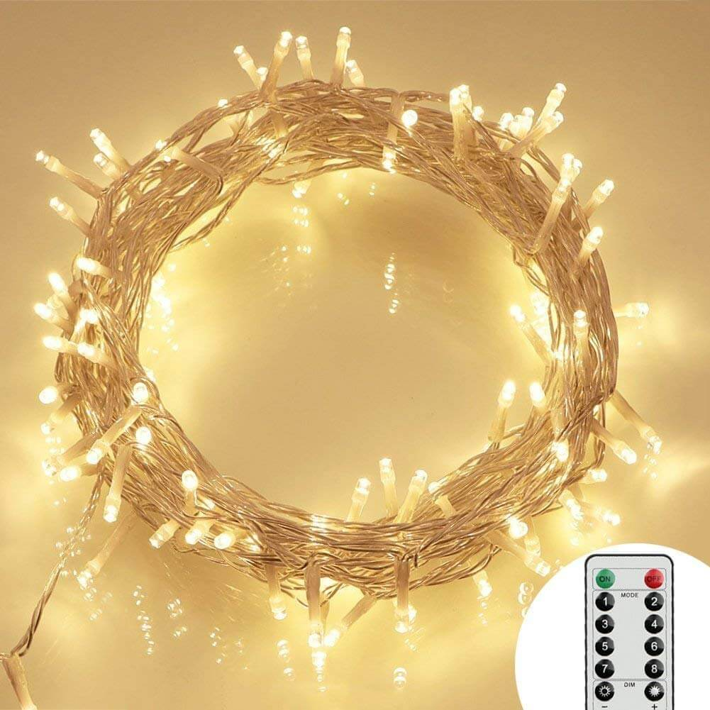 100 LED Outdoor Battery Fairy Lights 8 Modes, Dimmable, IP65 Waterproof