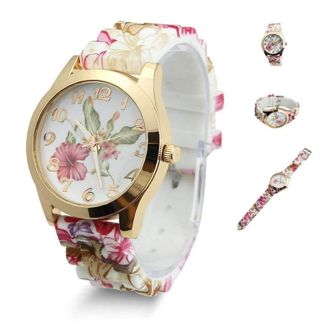 Estone Hot F Watch Silicone Printed Flower Causal Quartz Wristwatches
