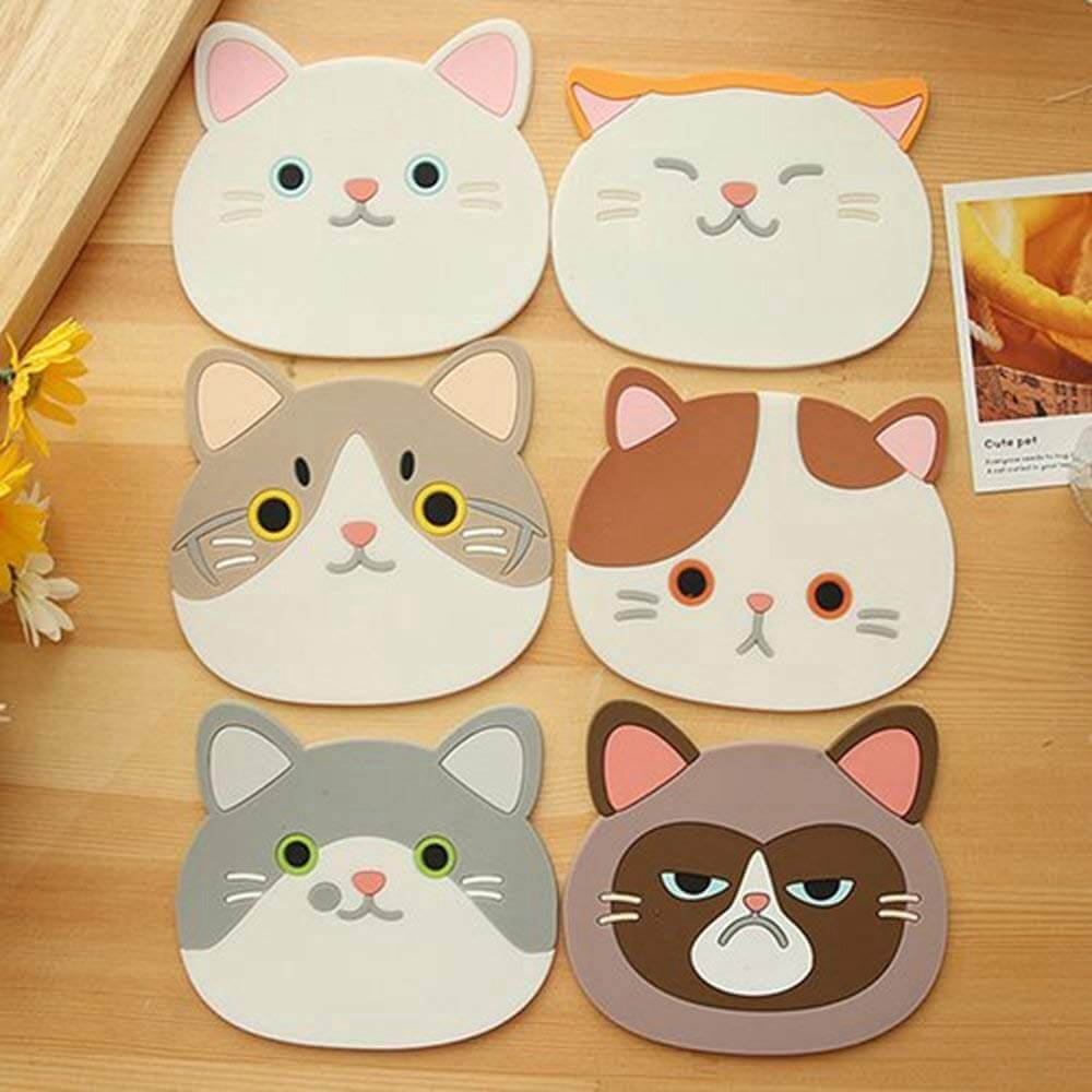 Cat Cup Coasters Silicone 6 Pack (Free Shipping)