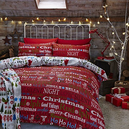 Catherine Lansfield Christmas Slogans Throws Twin Pack Multi, 120x150cm