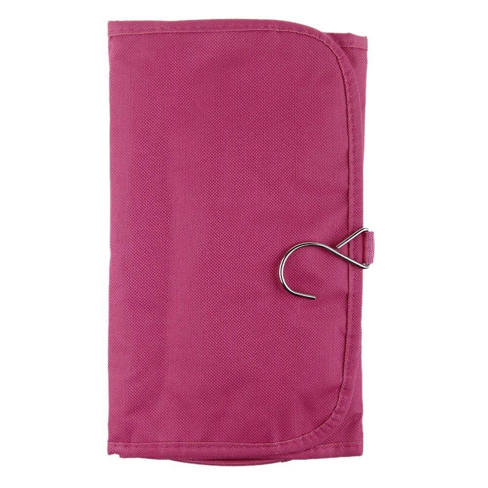 Sanwood Canvas Travel Toiletry Hanging Bag Folding Organizer (Rose-Red)
