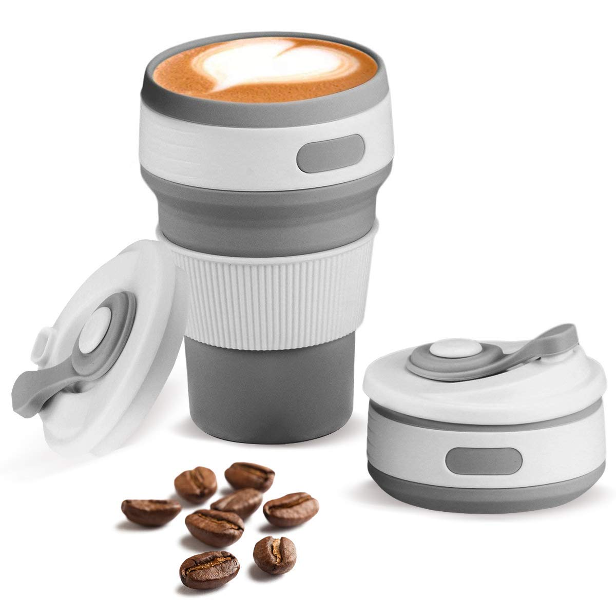 Collapsible Silicone Coffee Cup, Reusable Travel Mug With Leak Proof Lid