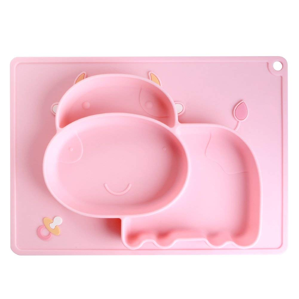 [Lovely Bright Pink] Baby Feeding Mat, A Cute Little Silicone Placemat with Non Slip Suction Bottom for Baby Self-Feeding for £8.79