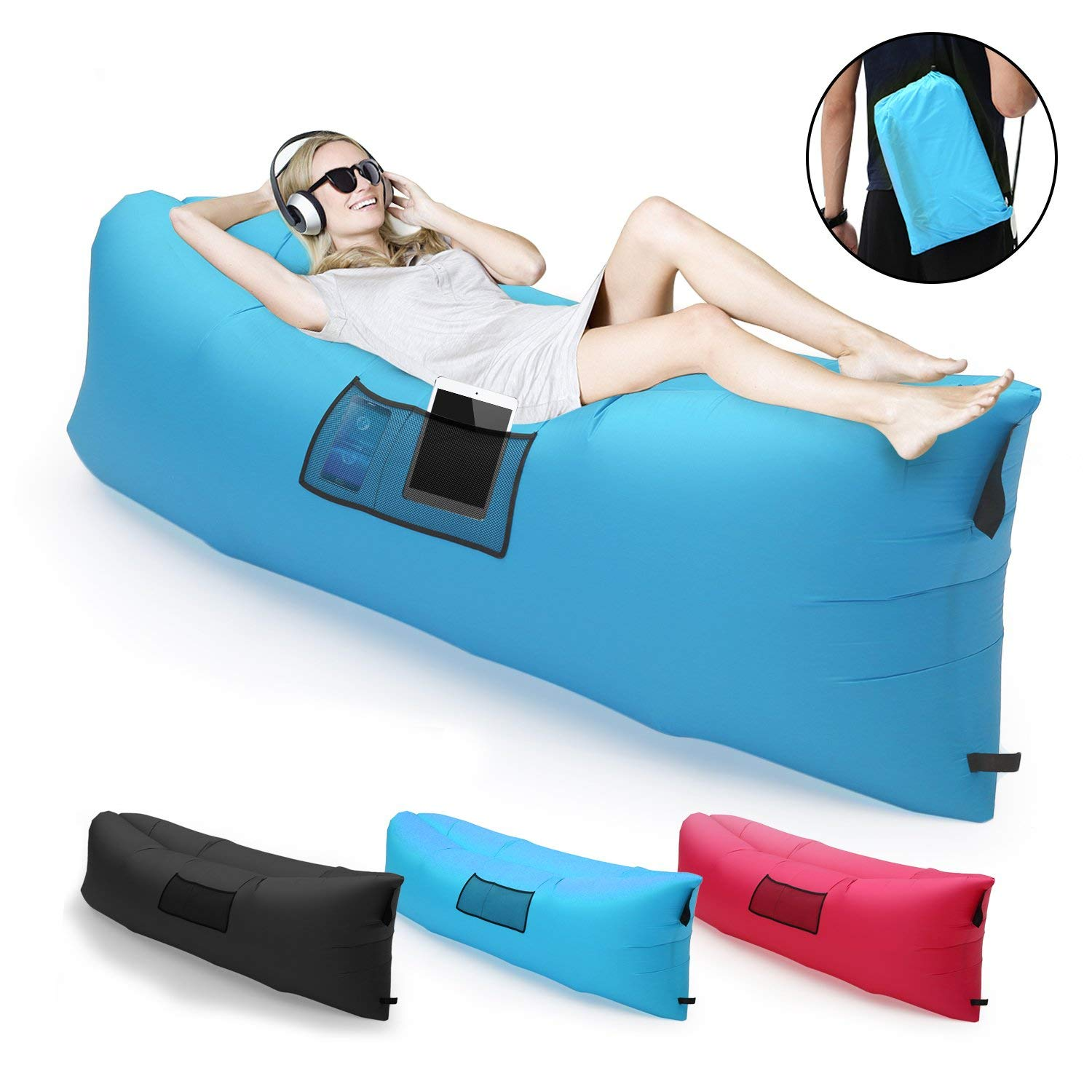 Kingpeony Inflatable Lounger Couch with Carry Bag