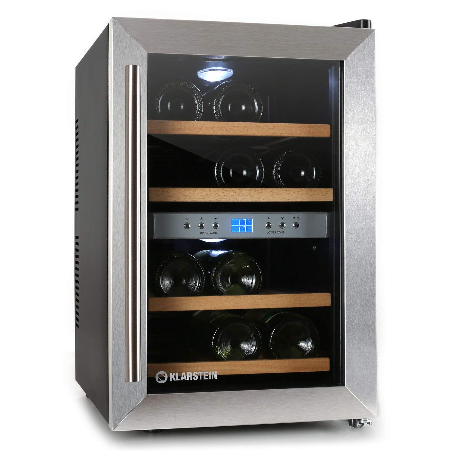 Klarstein Freestanding Stainless Steel 12 Bottle(s) – Wine Cooler