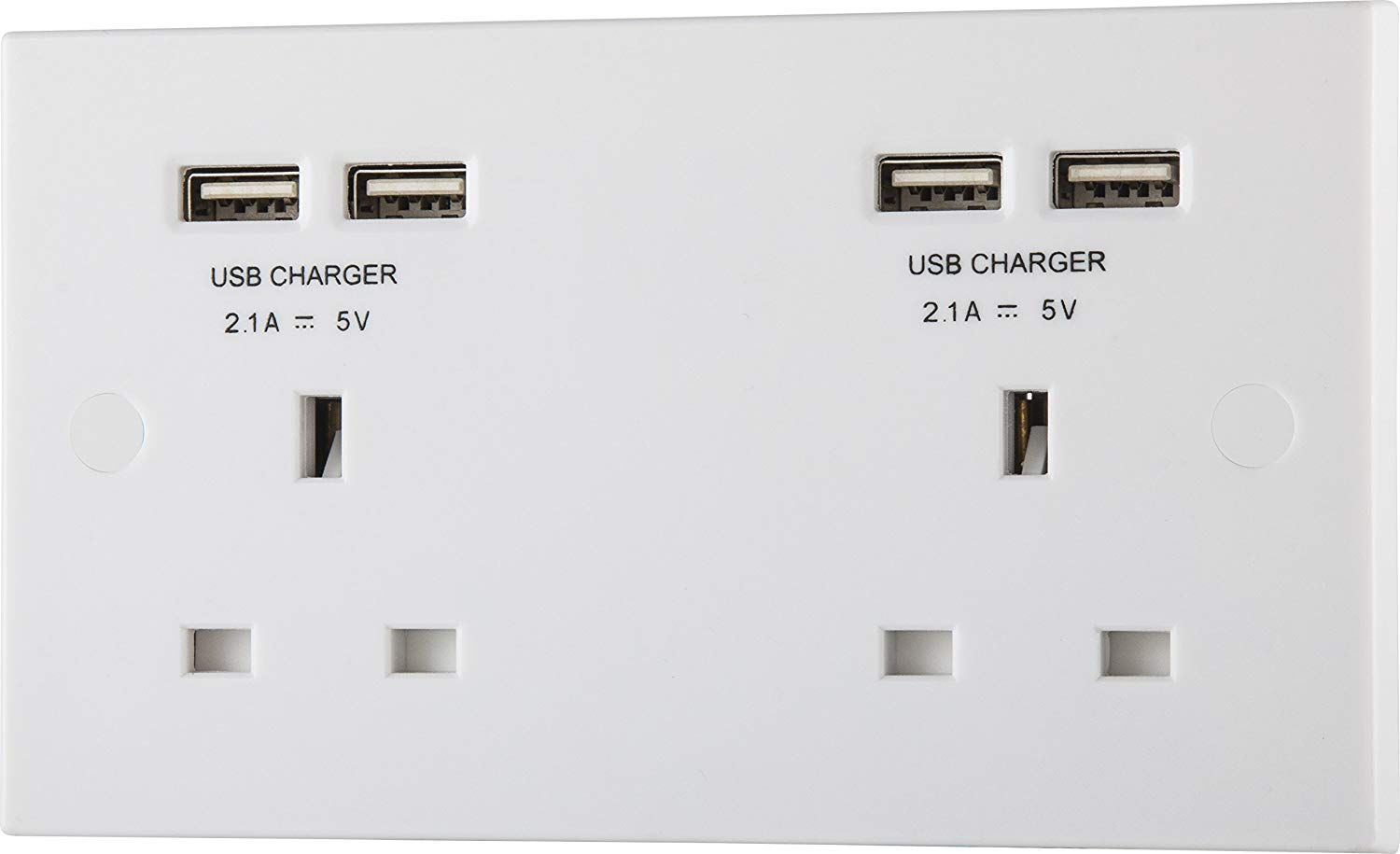 BG Electrical 13A 2 Gang Unswitched Socket with USB (4 Port 4.2A)