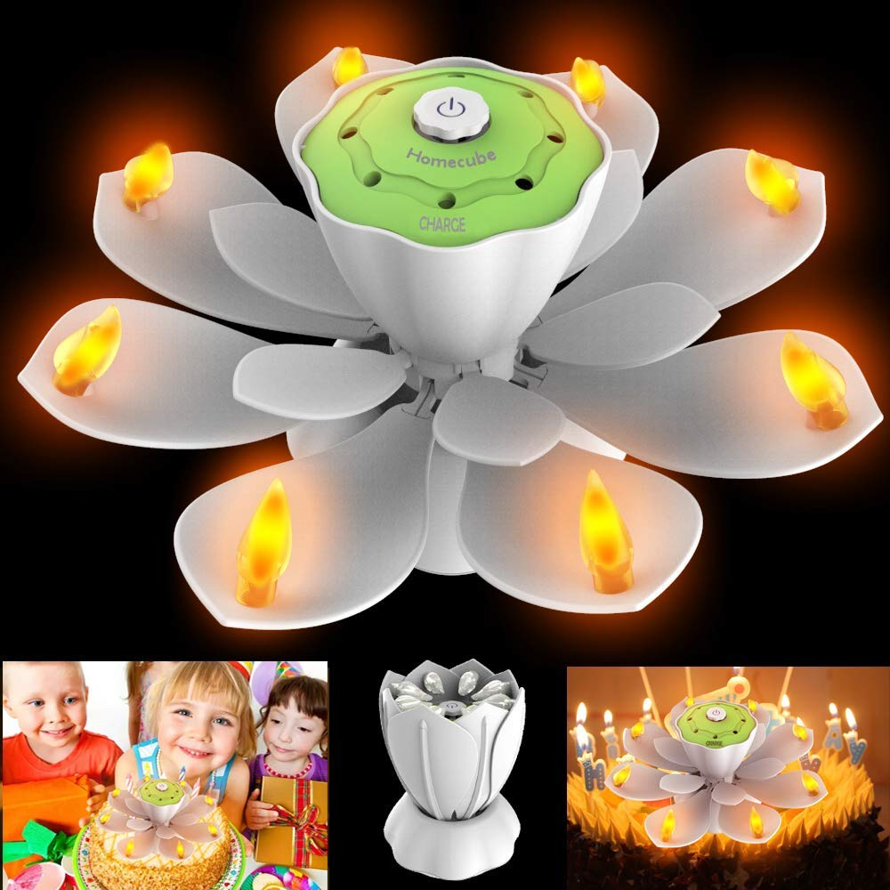 LED Birthday Candles, Flameless Flickering Musical Candles 3 Adjustable Modes