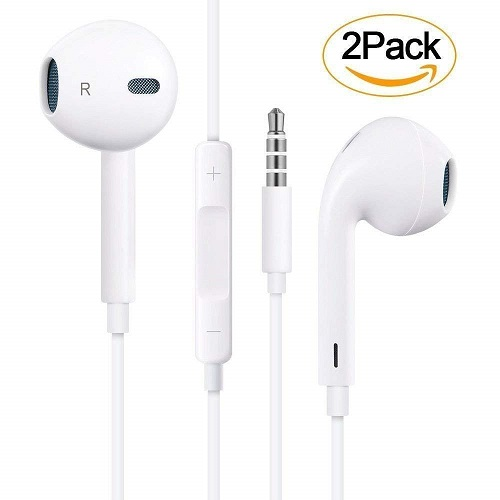 2 Pack Earphones with Microphone Premium Earbuds Stereo Headphones for £9.99
