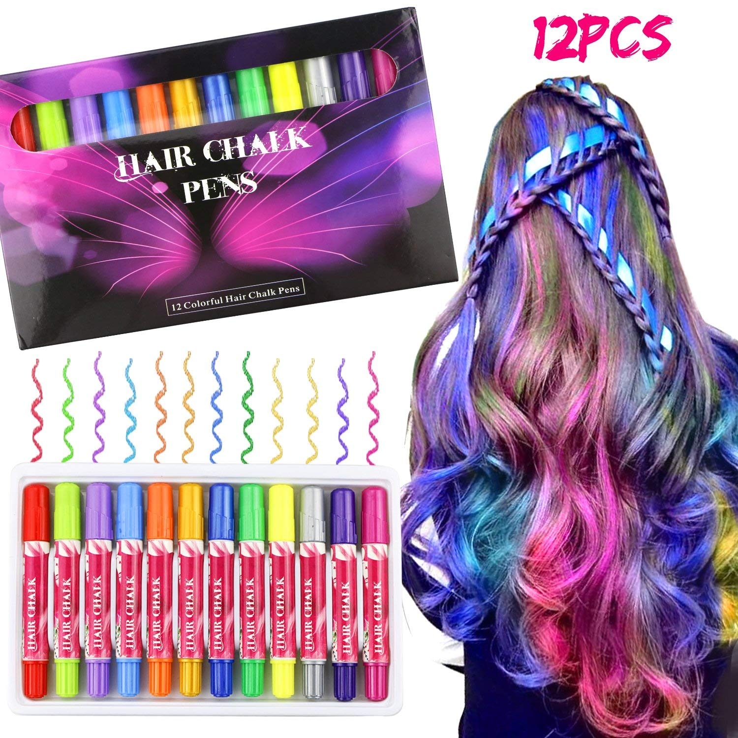 12 Colors Hair Chalk Set