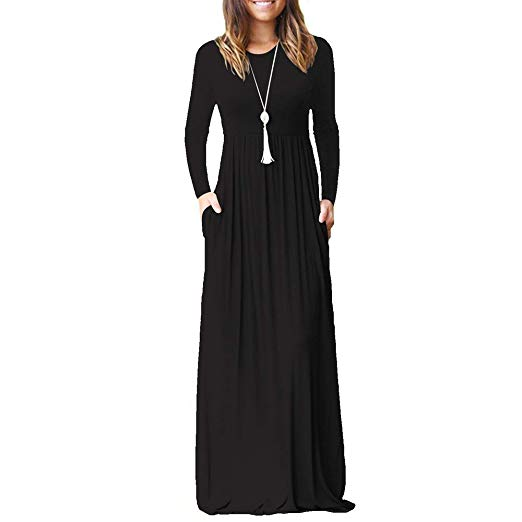ZHANGNA Women Autumn Casual Long Dress Size S, Color Black (Add-on Item)