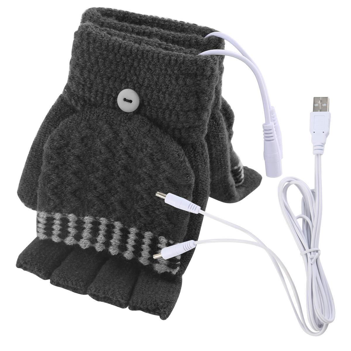Unisex USB Heated Gloves Mitten Winter Hands Warm Laptop Gloves