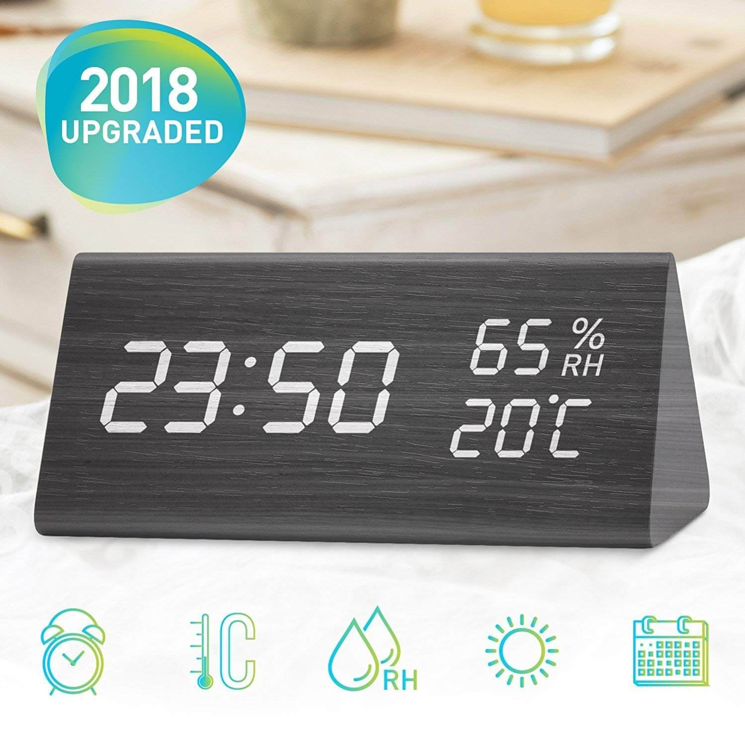 Digital Alarm Clock, Wooden LED Cube Three Alarm Sets with Electronic LED Time Display Temperature and Humidity Ideal for Travel, Kids Bedroom, Home, Office