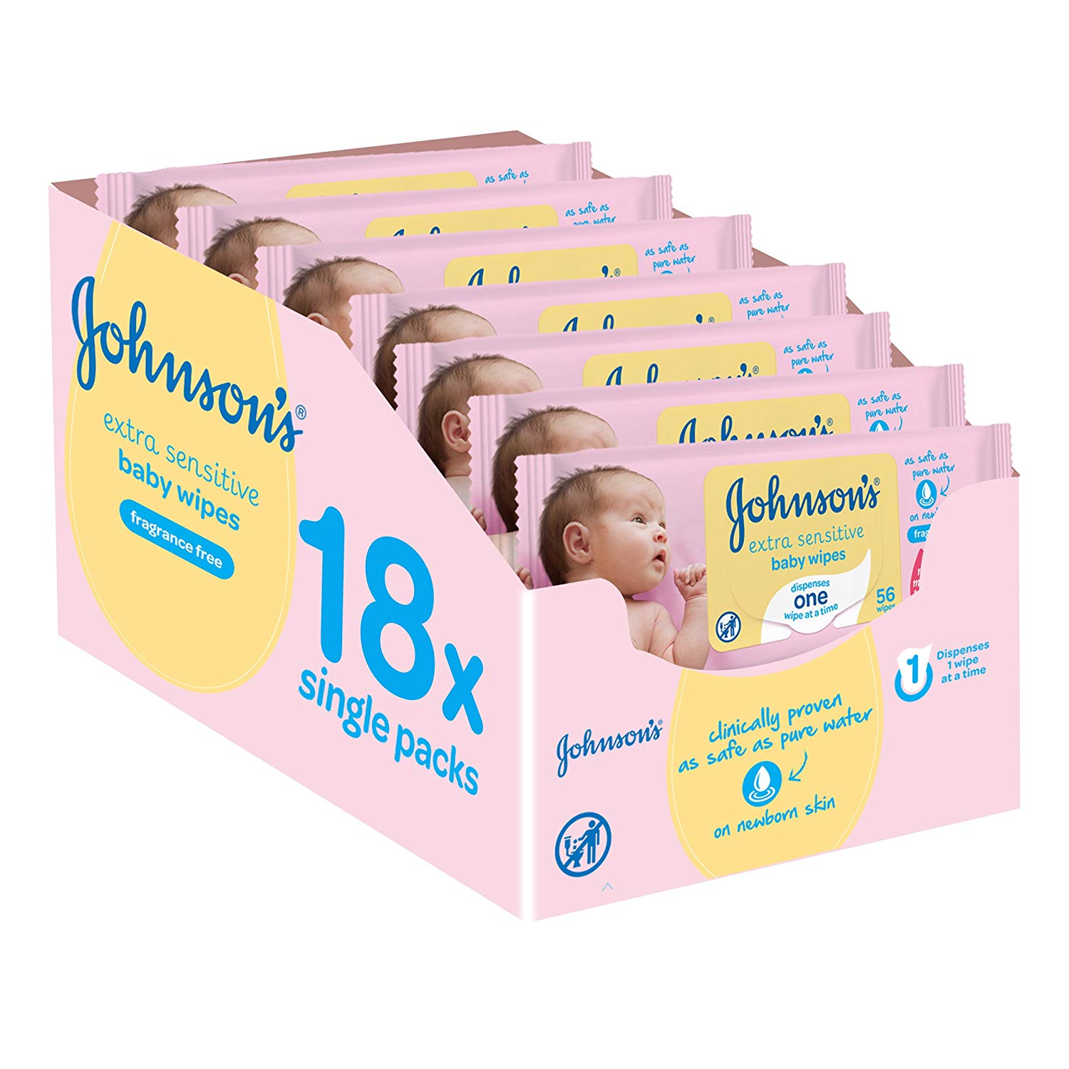 Johnson's Baby Extra Sensitive Fragrance Free Wipes – Pack of 18, 1008 Wipes