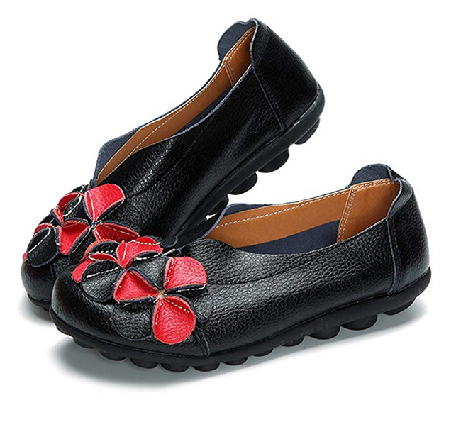 Women Classic Leather Flat Shoes Black Red Yellow Blue