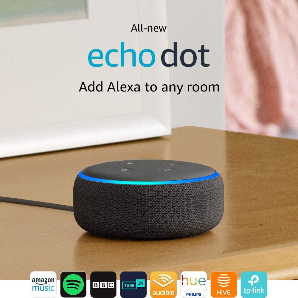 All-new Echo Dot (3rd Gen) – Smart speaker with Alexa (Charcoal Fabric)