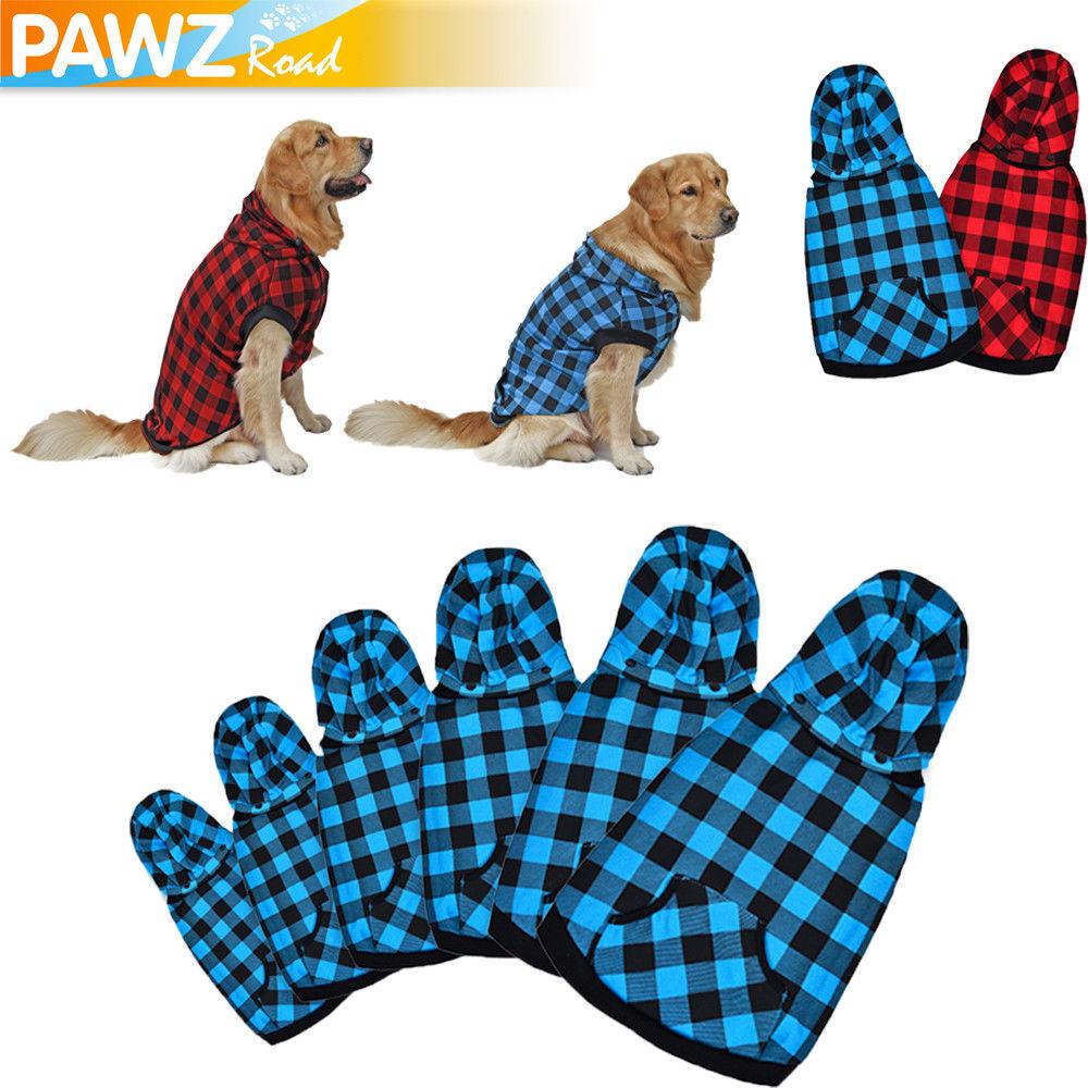 Lattice Large Dog Clothes Winter Warm Coat Pet Puppy Hoodie Sweater Vest Shirt