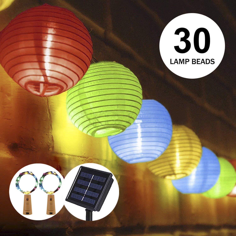 OFUN Solar Lantern Fairy Lights for Garden, 30 LED Solar String Lights Lantern, 6m IP65 Waterproof Outdoor Solar Lights Lanterns
