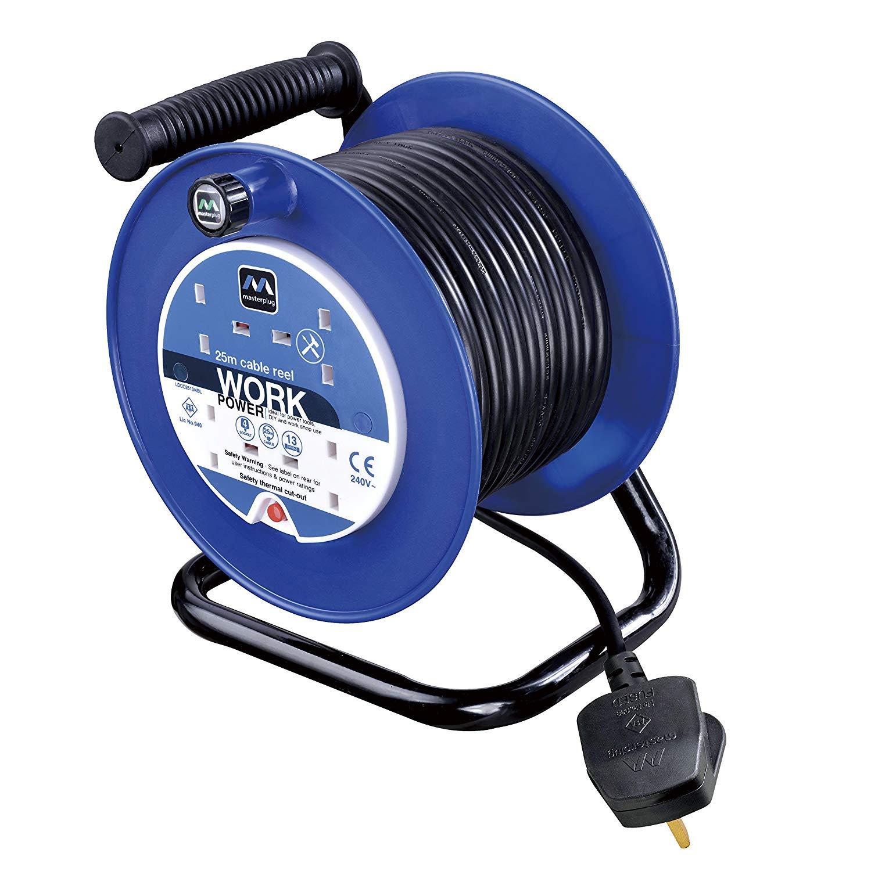 Masterplug LDCC2513/4BL 13amp 4 Socket 25m Open Cable Reel – Blue
