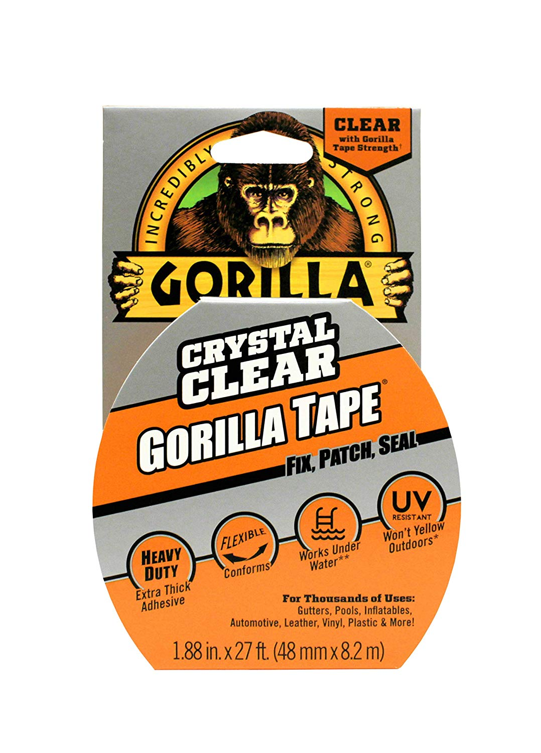 Gorilla 3044701 07164000719 Gaffer & Builders Tapes, Clear, 8.2m [Energy Class A]
