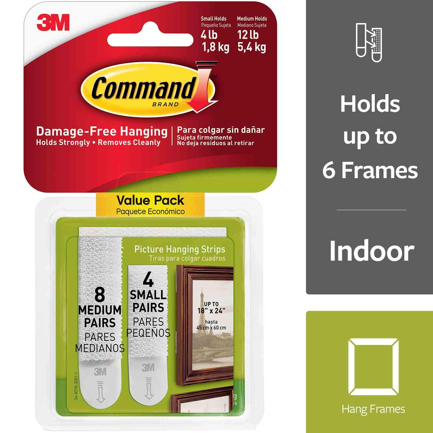 Command 17203 Small and Medium Picture Hanging Strips Value Pack