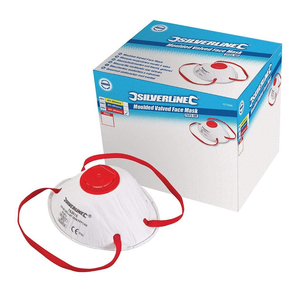 Silverline 427698 Respirator Moulded Valved FFP3 NR Display Box – Pack of 10