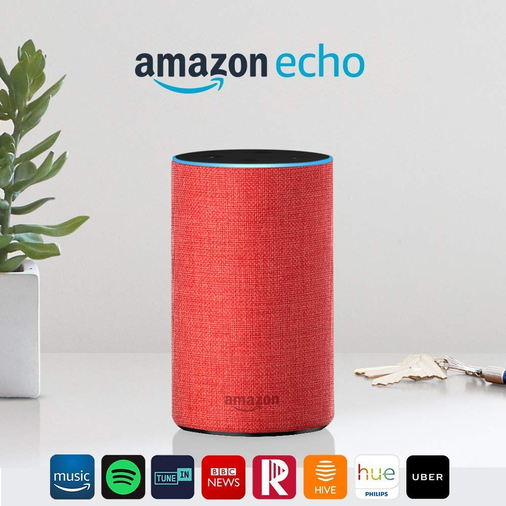 Amazon Echo (2nd Gen) – Smart speaker with Alexa – (RED) edition
