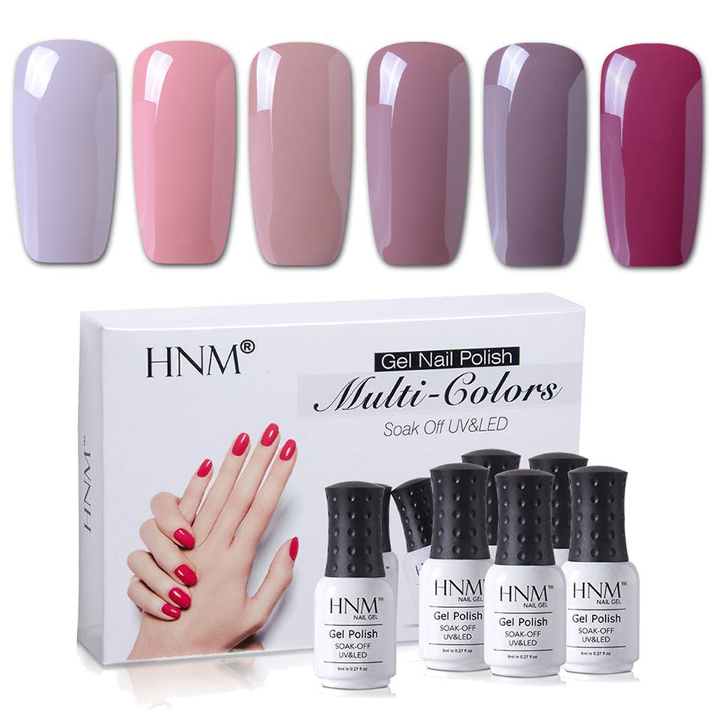 Gel Nail Polish HNM 6 Colors Combo UV LED Soak off Nail Art Manicure