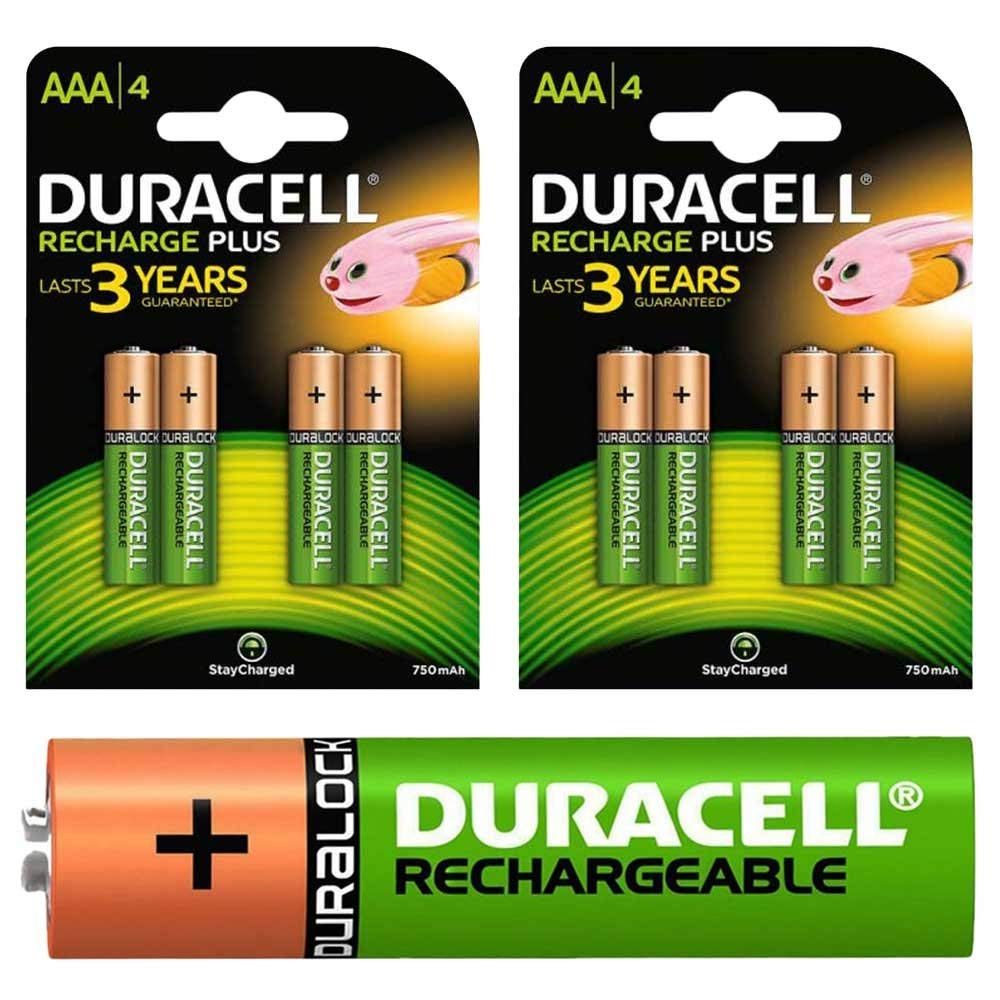 Duracell AAA 750mAh Rechargeable Batteries – Pack of 8