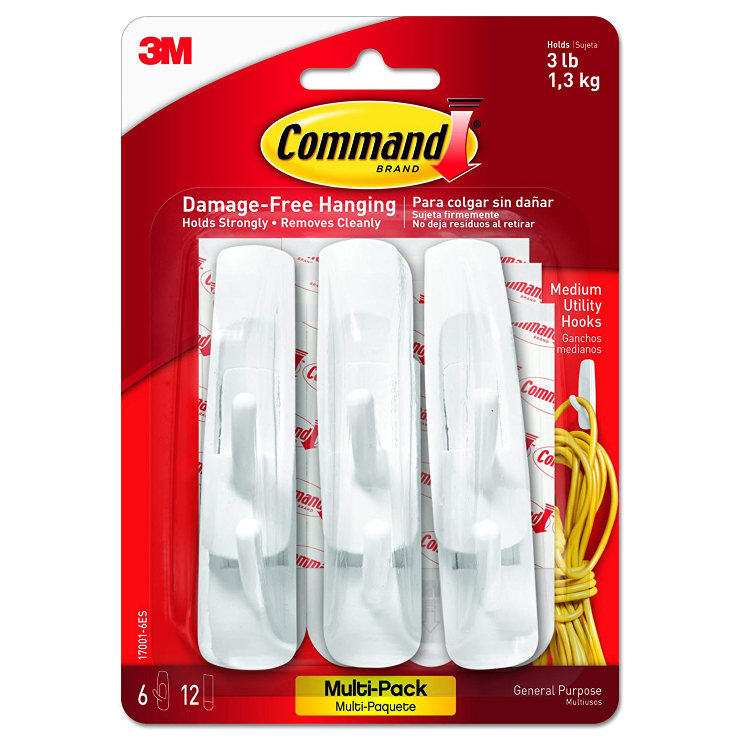 Command 17001-VP-6PK Medium Hooks Value Pack – White