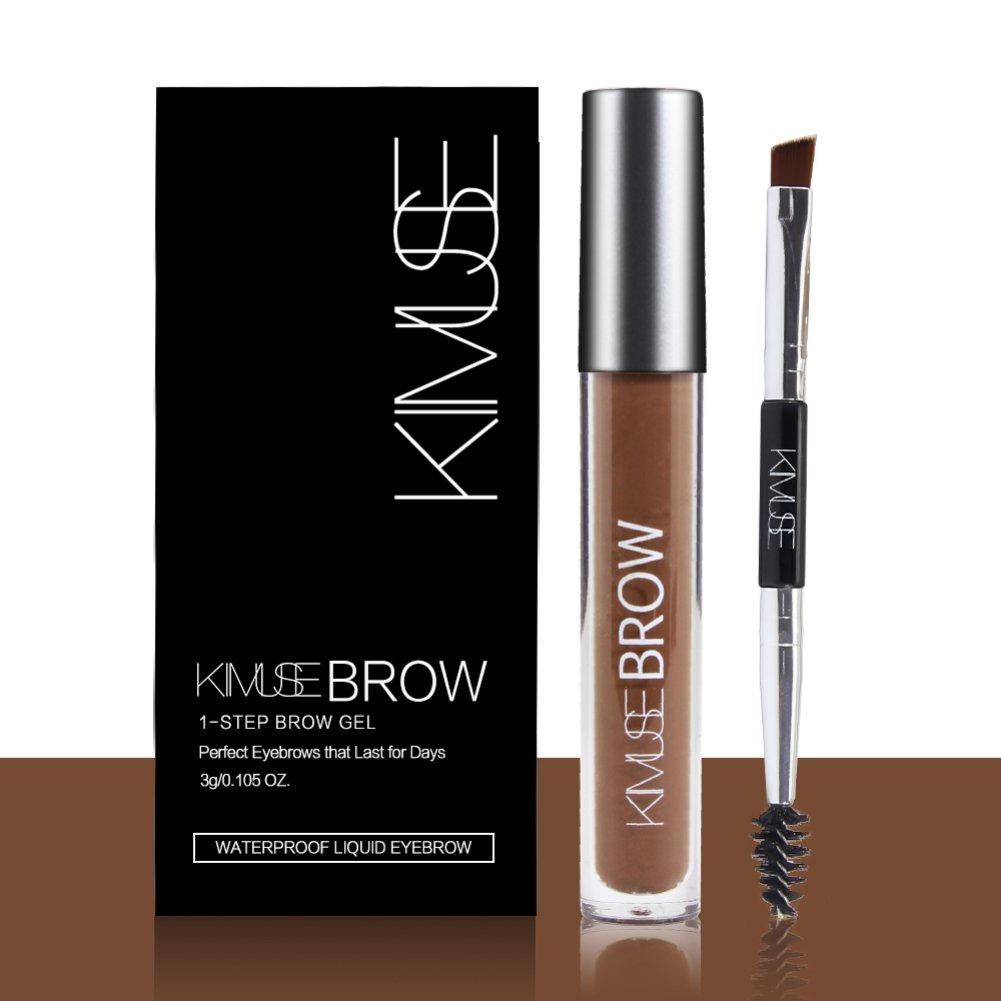 Huoju Long- Lasting Waterproof Liquid Eyebrow Color with Duo-Head Eyebrow Brush & Create Natural Looking Brows