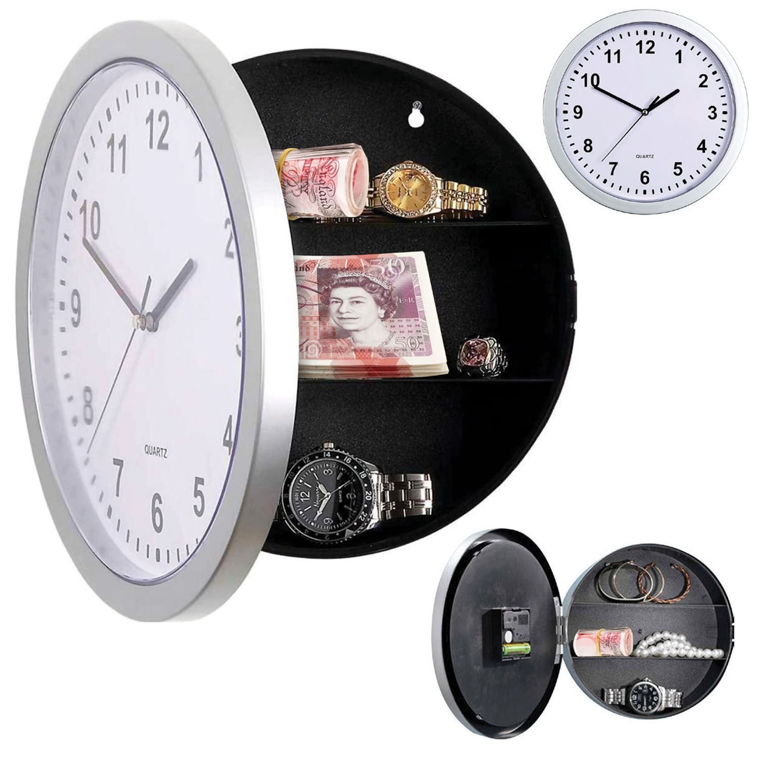 Silver Wall Clock Safe with Secret Hidden Compartment Money Stash Jewellery for £6.94