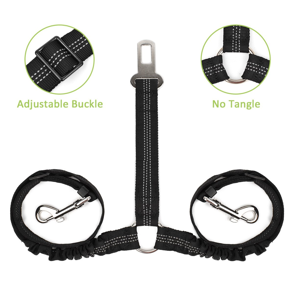 50%Off Double Dog Seat belt Car safety, 2 in 1, No Tangle Elastic bungee Coupler