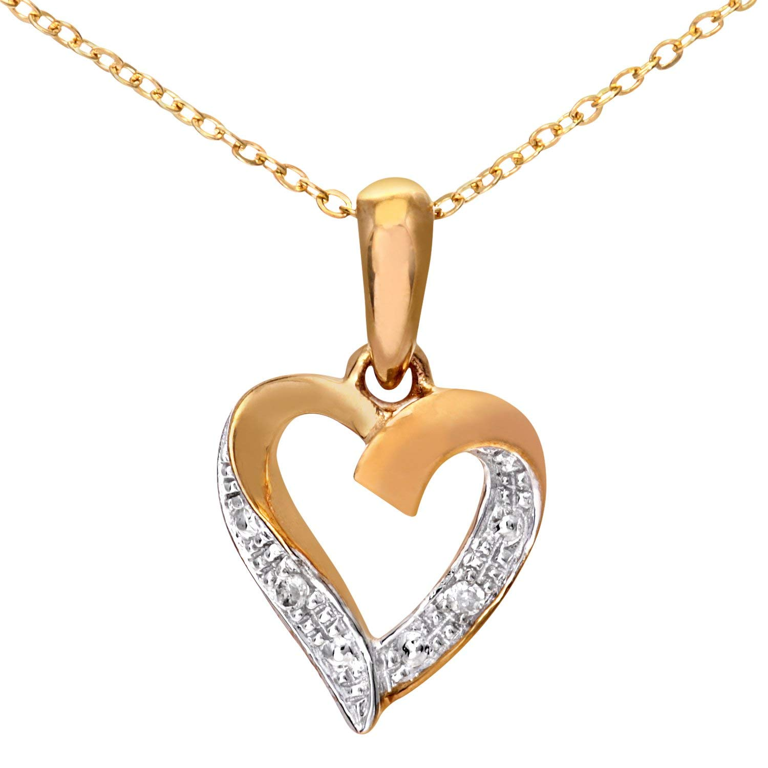 Naava Women's 9 ct Yellow Gold Diamond Heart Pendant and Chain Necklace of 46 cm for £45.00