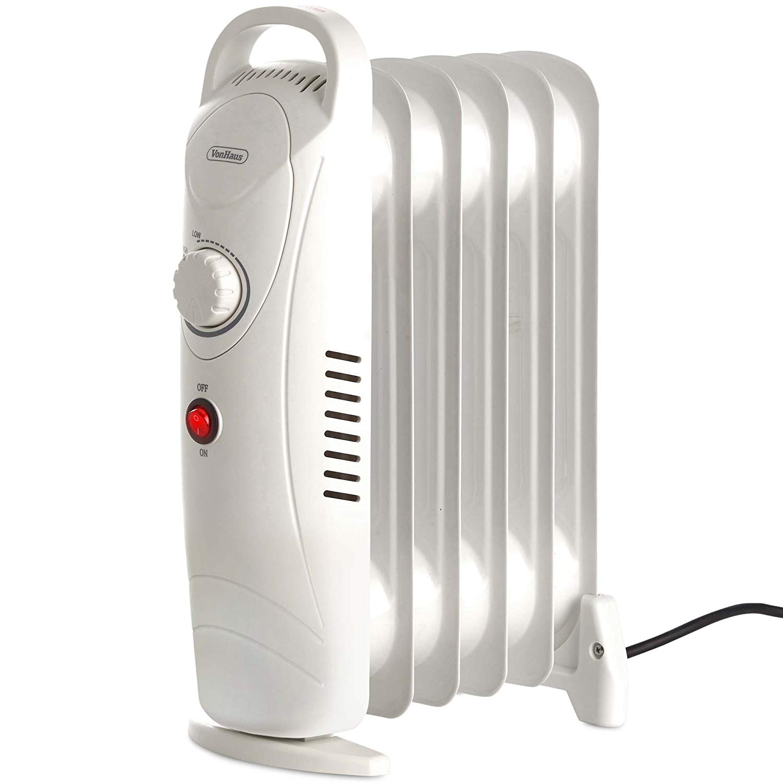 VonHaus Mini Oil Filled Radiator 800W 6 Fin – Portable Electric Small Heater