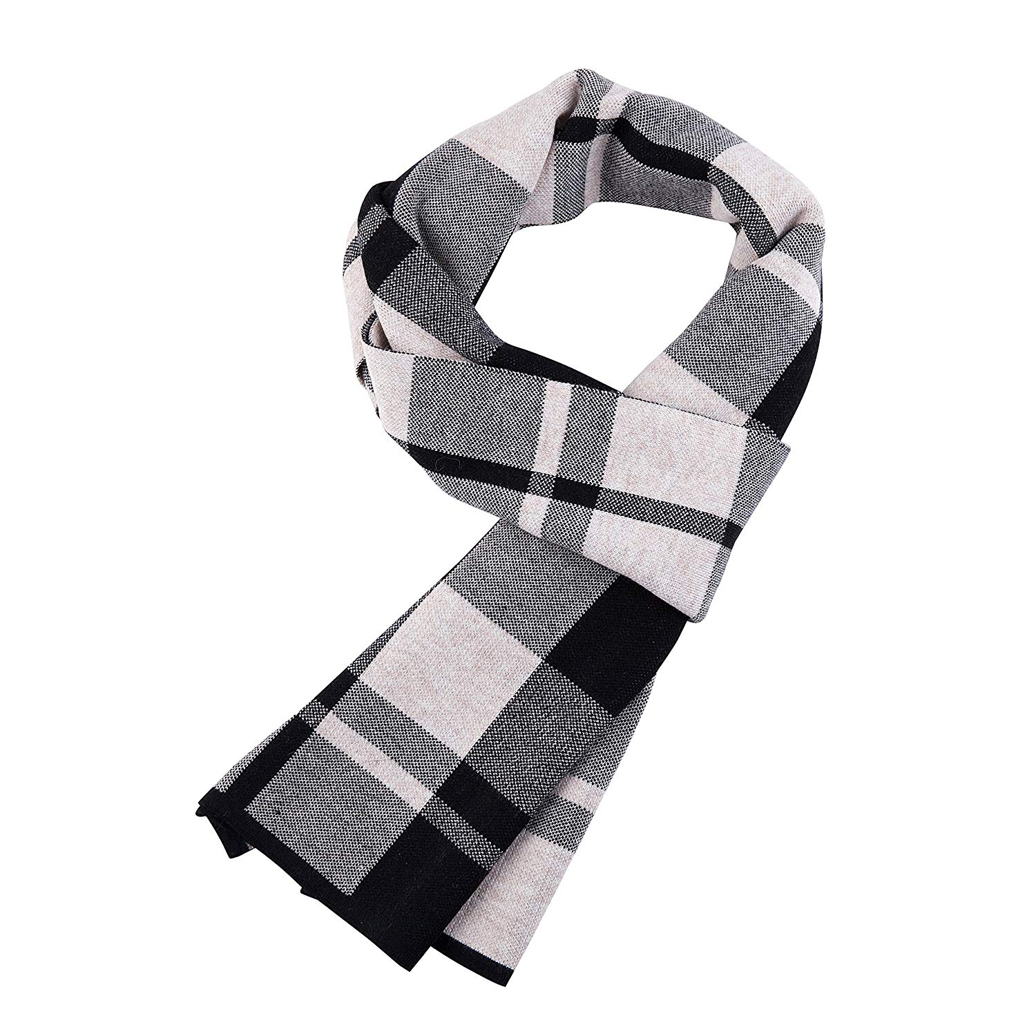 Men's Winter Fashionable Soft Colorful Striped Knit Long Scarf Softer Cashmere Feel Wool Touch Plaid Solid