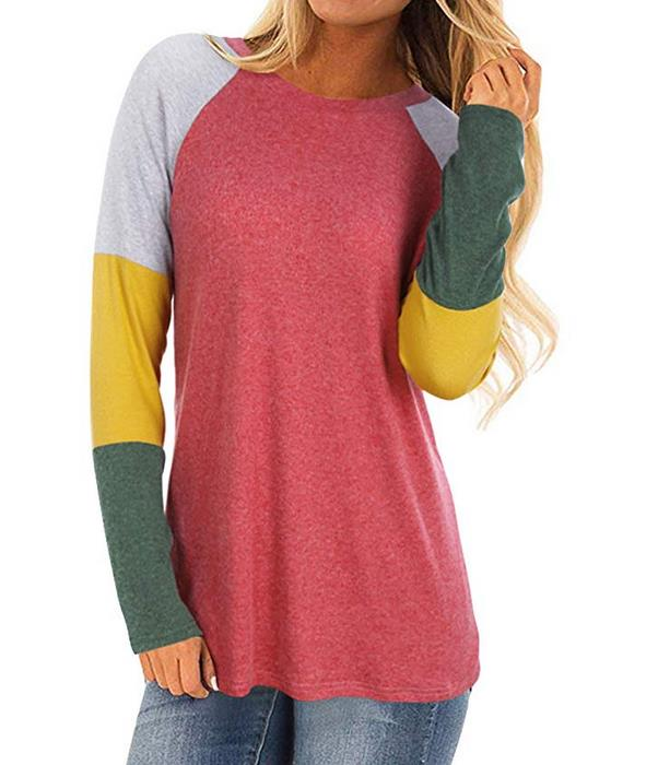 Women's Casual Round Neck Tunic Blouse Shirts Color Block Long Sleeve Sweatshirt Tops
