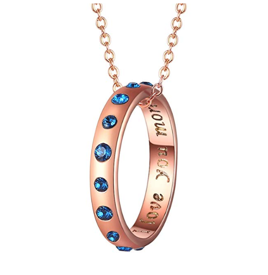 Foruiston Swarovski Rose Gold Ring Pendant Necklace Jewellery for Women with Sapphire and l Love You More Engraved 18 inch