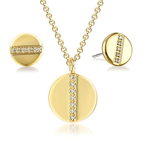 GuqiGuli Ladies Round Disc 14k Gold Plated Fashion Jewellery Necklace and Earrings Set for Women