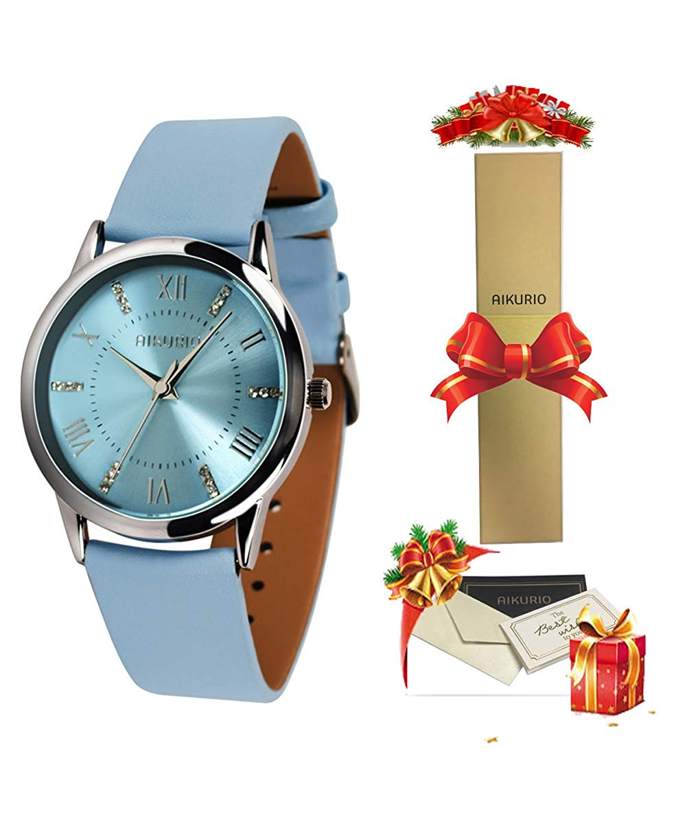 AIKURIO Women's Wrist Watch Analog Quartz with Leather Strap and Crystal Dial 30M Waterproof Classic Daily Style AKR001