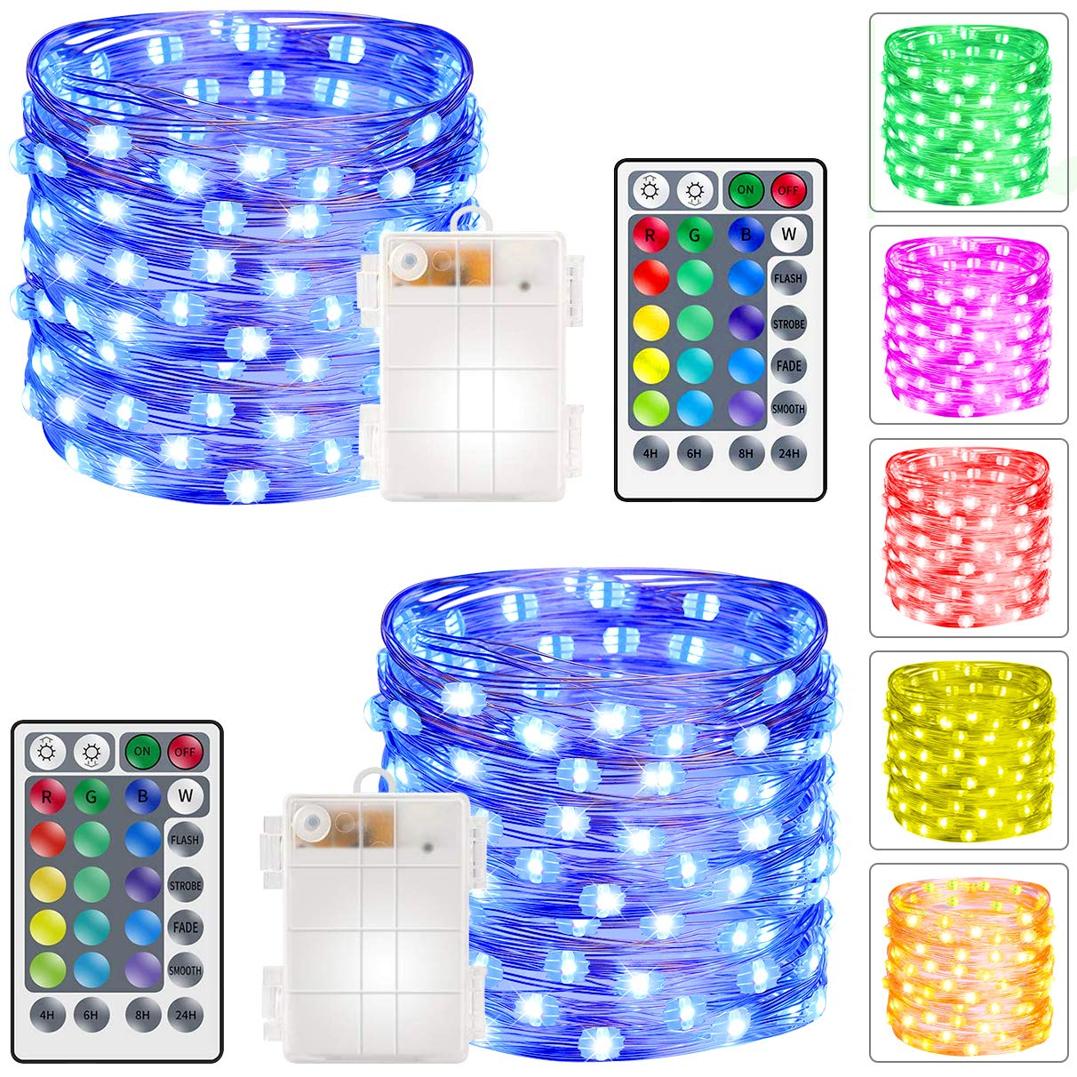 Govee 2 Set RGB Fairy String Lights Dimmable Waterproof Battery Operated 5m/16.5ft 50 LEDs for £4.95