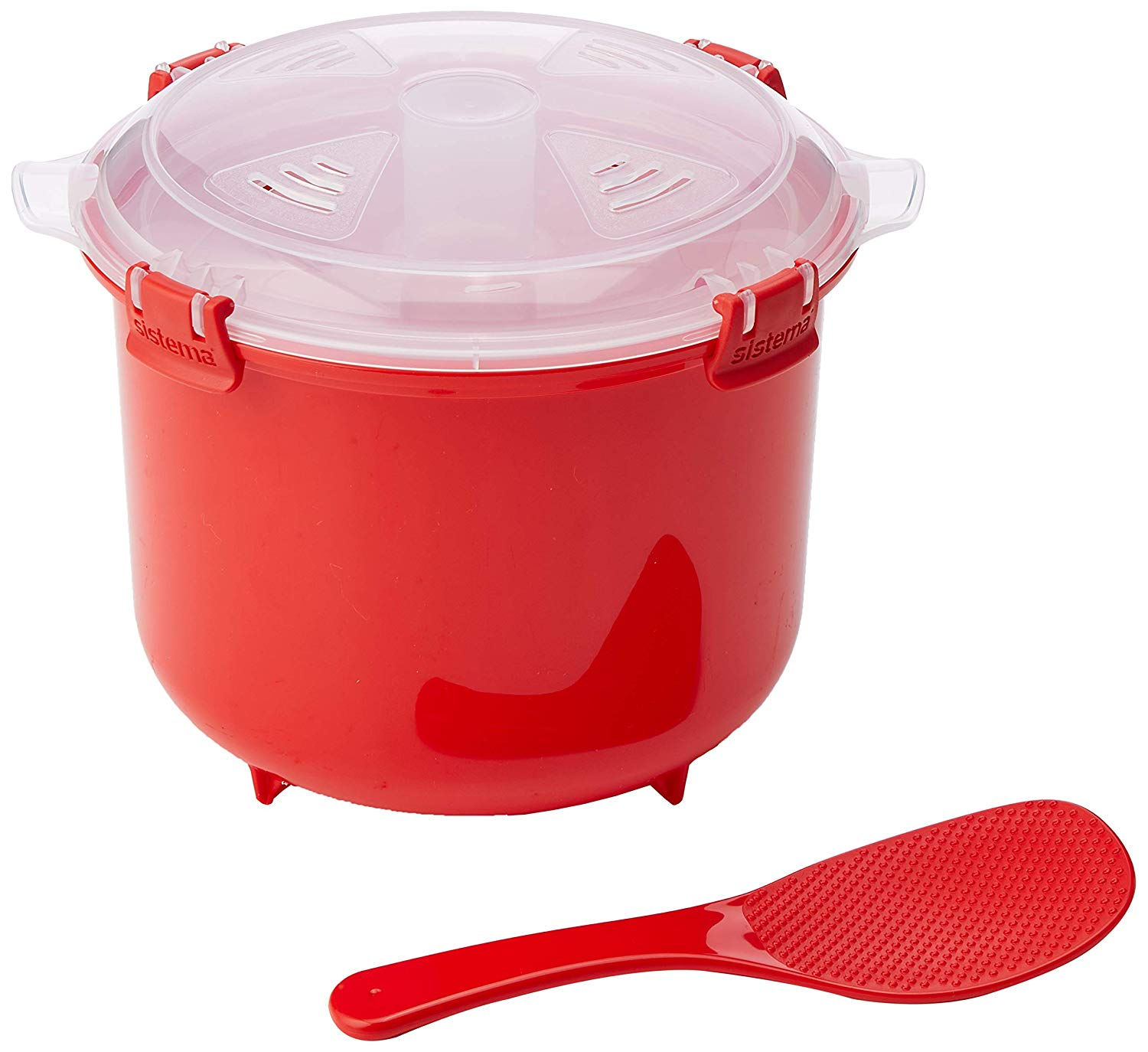 Microwave Rice Cooker, 2.6 L – Red/Clear