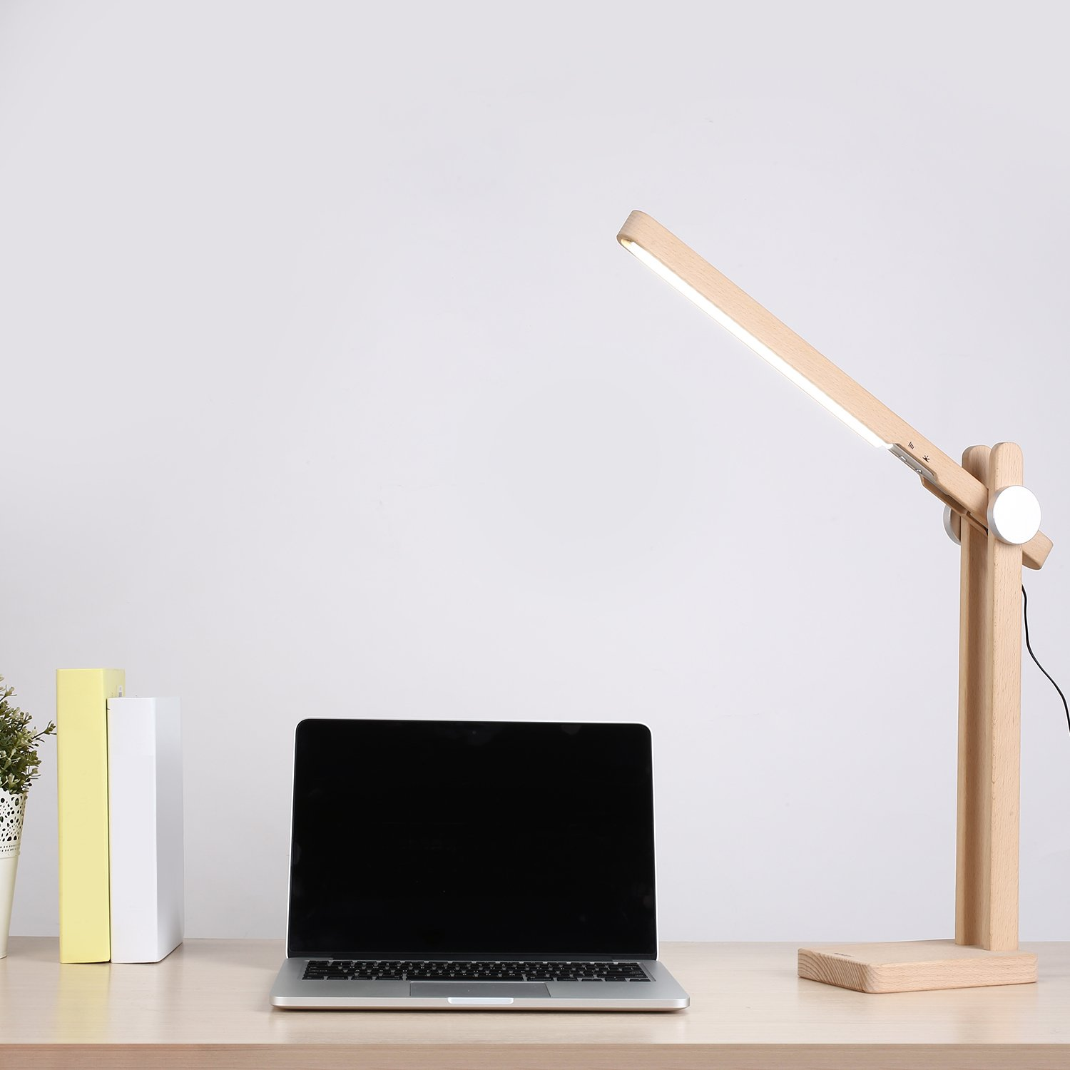 AUKEY LED Desk Lamp, Natural Wood Design Table Lamp for £19.99